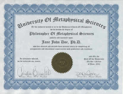 degree in metaphysics